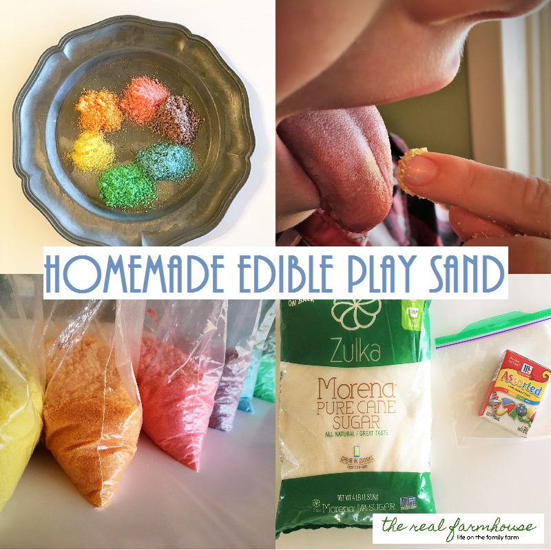 great tutorial on how to make edible play sand. great hands on activity for kids play!