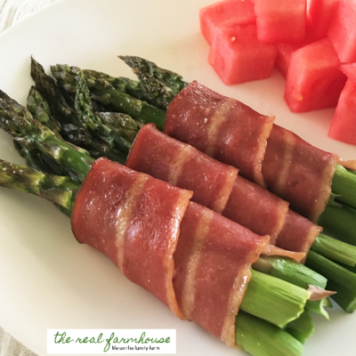 juicy, salty, turkey bacon wrapped asparagus