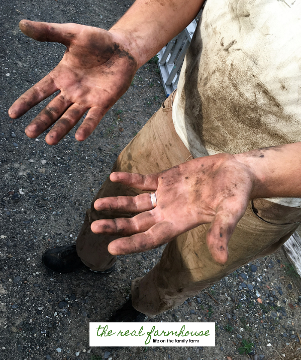 The perks of living on a farm.Farming is an acceptable excuse for being unrecognizably dirty in public.