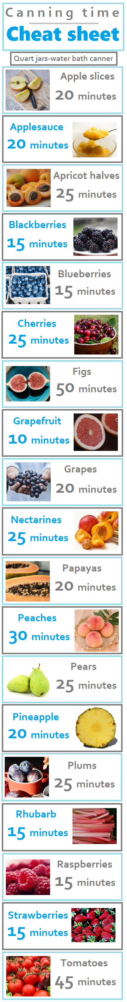 Save now for whenever I need to know processing times for canning fruit. Excellent resource!